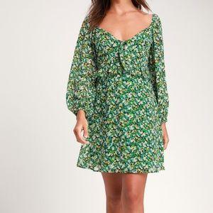 Forsythia Green Floral Print Long Sleeve Dress